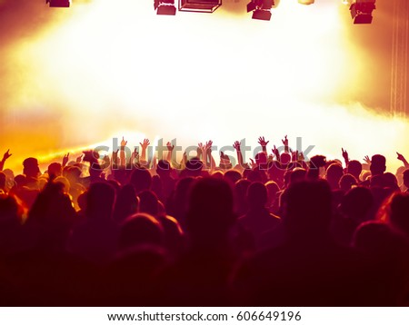 cheering crowd at a rock concert #606649196