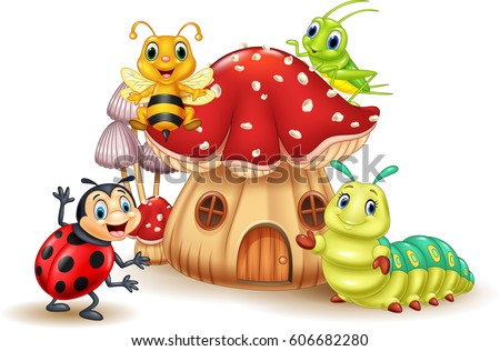 Cartoon funny insects with mushroom house Royalty-Free Stock Photo #606682280