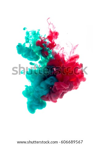 Colors dropped into liquid and photographed while in motion. Cloud of silky ink in water on white isolated background, an abstract banner. #606689567