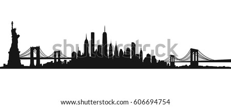 New York City Skyline Vector Royalty-Free Stock Photo #606694754
