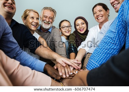 Group of Diverse People Hands Together Teamwork Cooperation #606707474