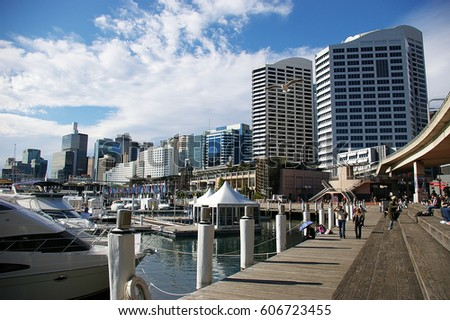 darling harbour at Sydney, NSW Australia Royalty-Free Stock Photo #606723455