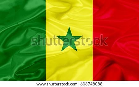 Senegal flag of silk-3D illustration #606748088