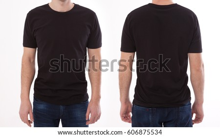 Shirt design and people concept - closeup of young man in blank black tshirt front and rear isolated. Mock up template for design print Royalty-Free Stock Photo #606875534