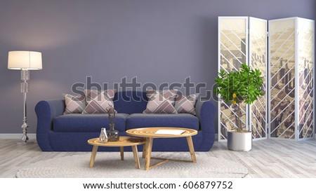 interior with sofa. 3d illustration #606879752