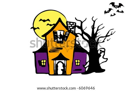 Haunted house illustration, clip-art for halloween