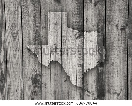 Map of Texas on weathered wood #606990044