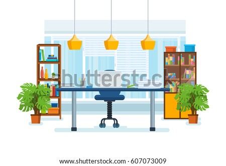The interior of the office room, with a workplace, low-key surroundings, windows with shutters and views of the city's streets. Vector illustration isolated in cartoon style. Royalty-Free Stock Photo #607073009