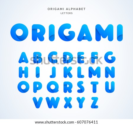 Vector origami alphabet. Letter collection #607076411