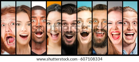 The collage of young women and men smiling face expressions #607108334
