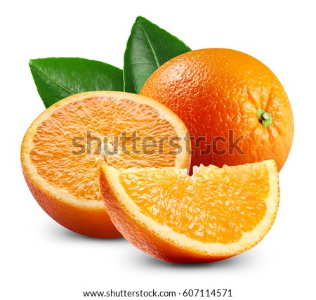 Ripe orange isolated on white background Clipping Path #607114571