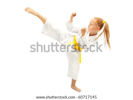 Little girl practice karate isolated on white #60717145