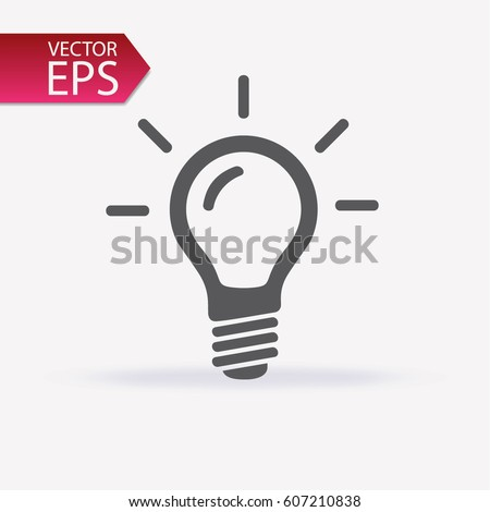 Bulb icon isolated on light background. Symbol of lighting, electric. Idea sign, thinking concept in flat style for graphic design, Web site, UI. EPS Royalty-Free Stock Photo #607210838