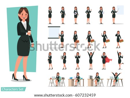 Set of Business woman character design. Royalty-Free Stock Photo #607232459