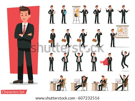 Set of Businessman character design. Royalty-Free Stock Photo #607232516