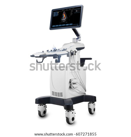 Mobile Ultrasound Machine with Doppler Isolated on White Background. Portable Ultrasound Machine. Medical Device. Medical Diagnostic Equipment. Clipping Path #607271855