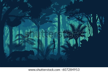 Vector evening tropical rainforest Jungle background with jaguar, sloth, monkey and qetzal Royalty-Free Stock Photo #607284953