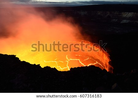 inside view of an active volcano with lava flow in Volcano National Park, Big Island of Hawaii, USA