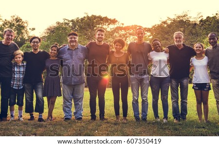 Group of people support unity arm around together #607350419