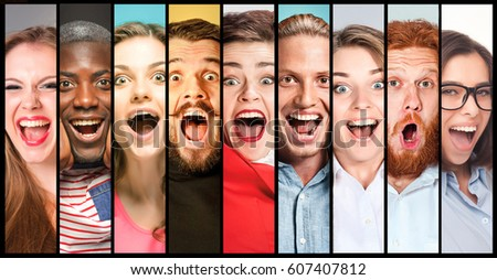 The collage of young women and men smiling face expressions #607407812