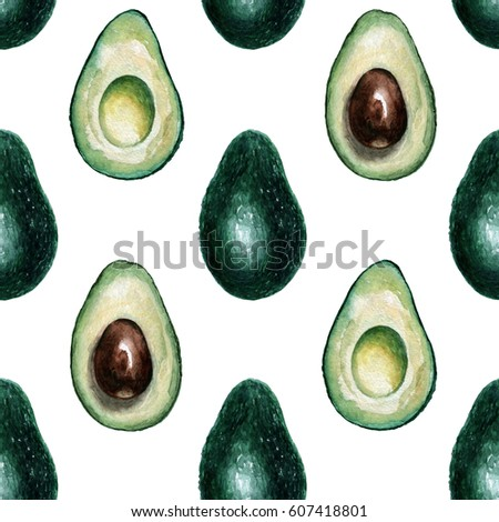 Pattern with avocado. Watercolor hand painted illustration