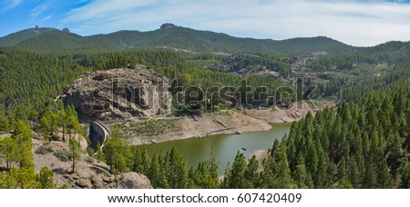Mountain landscape with rocks, lake and pine trees in Gran Canaria island, Spain #607420409