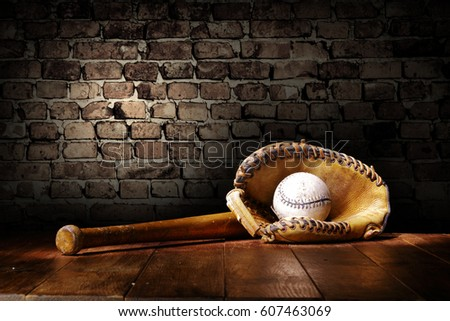 baseball and wall with shadows  #607463069