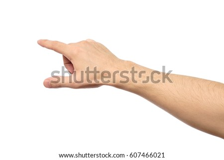 Closeup of male hand pointing. Isolated on white background Royalty-Free Stock Photo #607466021