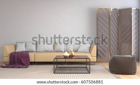 interior with sofa. 3d illustration #607506881