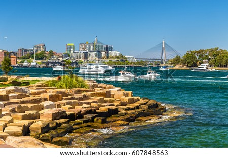 Yachts in Sydney Harbour as seen from Barangaroo Reserve Park - Australia Royalty-Free Stock Photo #607848563