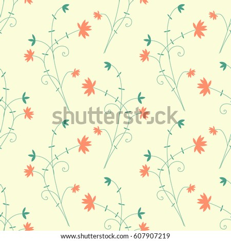 Seamless pattern with decorative flowers #607907219