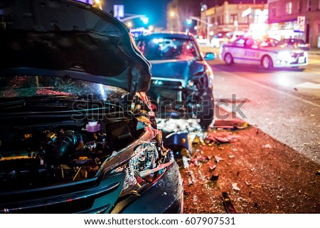 Multiple car crash road police night city Royalty-Free Stock Photo #607907531