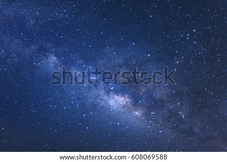 Close up Milky Way, Long exposure photograph.with grain #608069588