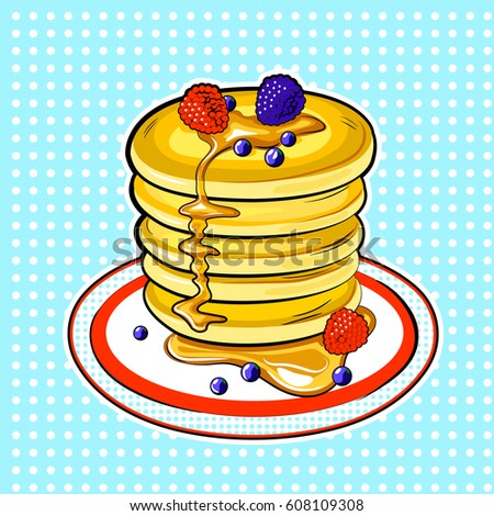 Pancakes pop art hand drawn raster illustration.