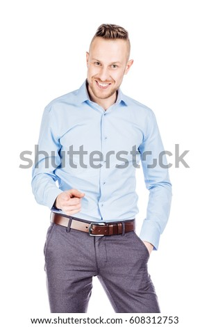 Portrait adult businessman  looking and pointing finger  gesture . happiness, gesture, emotions and people concept. Image on white  studio background. #608312753