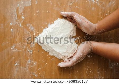 Chef preparing dough - cooking process #608350187