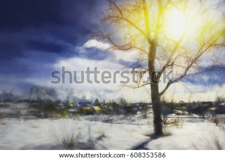 Winter art background- birch tree on a snow-covered river bank - a rural landscape on a bright sunny day #608353586