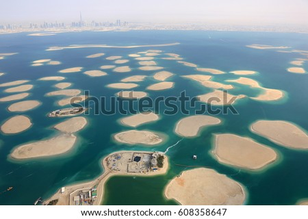 Dubai The World Islands Germany Austria Switzerland France panorama Spain Netherlands Island aerial view photography UAE