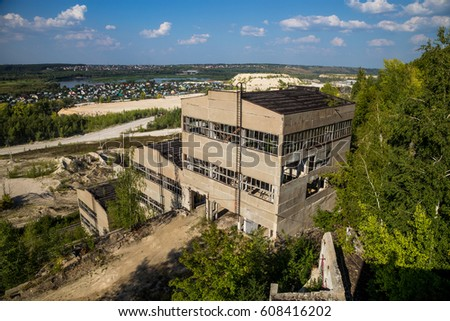 Abandoned and overgrown crushing and screening Plant for Crushed Stone Production #608416202