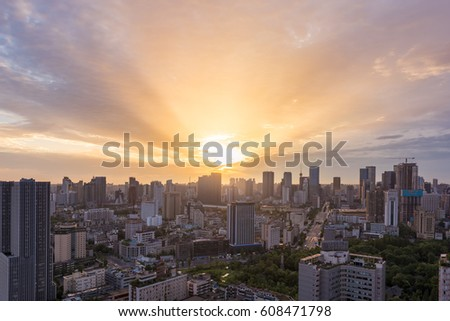 Chengdu, Sichuan Province, China - July 27, 2016: skyline aerial view at sunrise #608471798