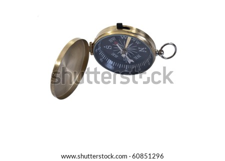 Brass Cased Pocket Compass Isolated on White #60851296