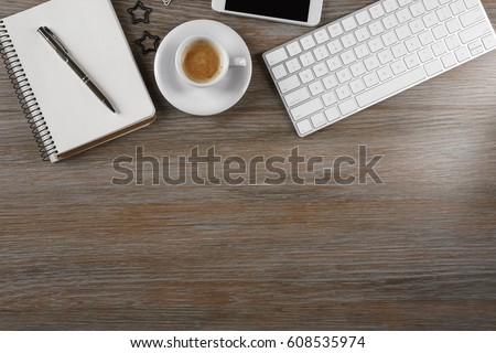 Modern workplace with cup of coffee #608535974