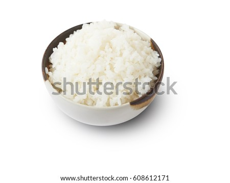 Isolated and clipping path of Japanese rice in bowl. #608612171