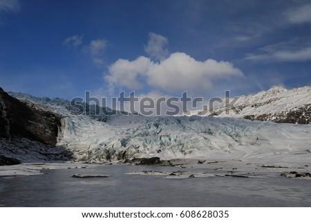 Fláajökull, glacier near Höfn in southeast Iceland #608628035