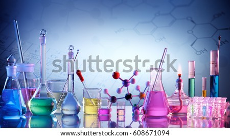 Laboratory Research -  Scientific Glassware For Chemical Background  Royalty-Free Stock Photo #608671094