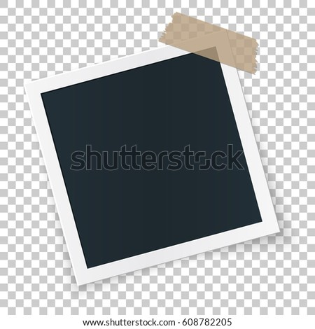 Square rotated retro photo frame concept, single isolated object stickied with beige tape pieces on transparent background. Vector detailed illustration edge for images and pictures. #608782205