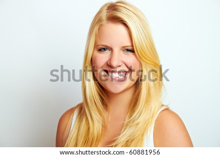 young smiling beautiful blond woman with blond hair #60881956
