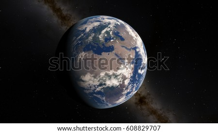 Planet Earth from space 3D illustration (Elements of this image furnished by NASA) #608829707