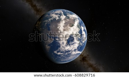 Planet Earth from space 3D illustration (Elements of this image furnished by NASA) #608829716