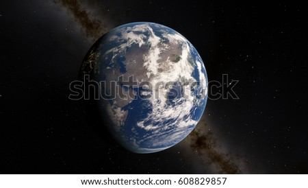 Planet Earth from space 3D illustration (Elements of this image furnished by NASA) #608829857
